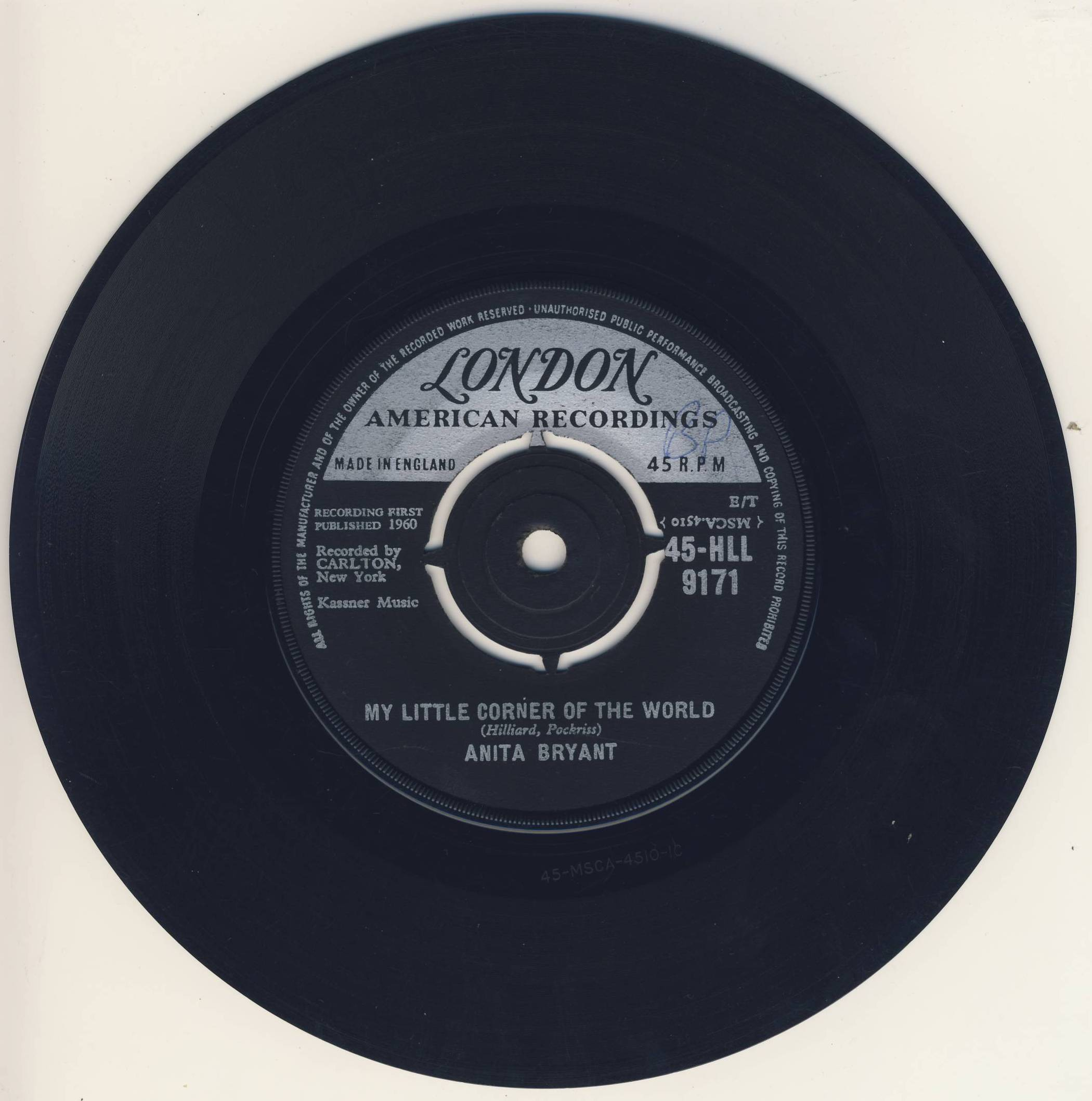 "vinyl 7""SP ANITA BRYANT - My Little Corner Of The World"