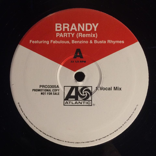 "vinyl 12""maxi SP BRANDY Party (remix) Promo featuring FABULOUS / BENZINO / RHYME"